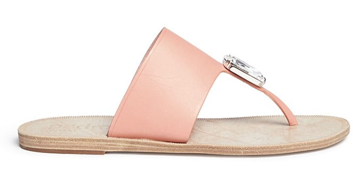 3ee78953e6d Lyst - Pedro Garcia  ivanka  Swarovski Crystal Leather Sandals in Pink