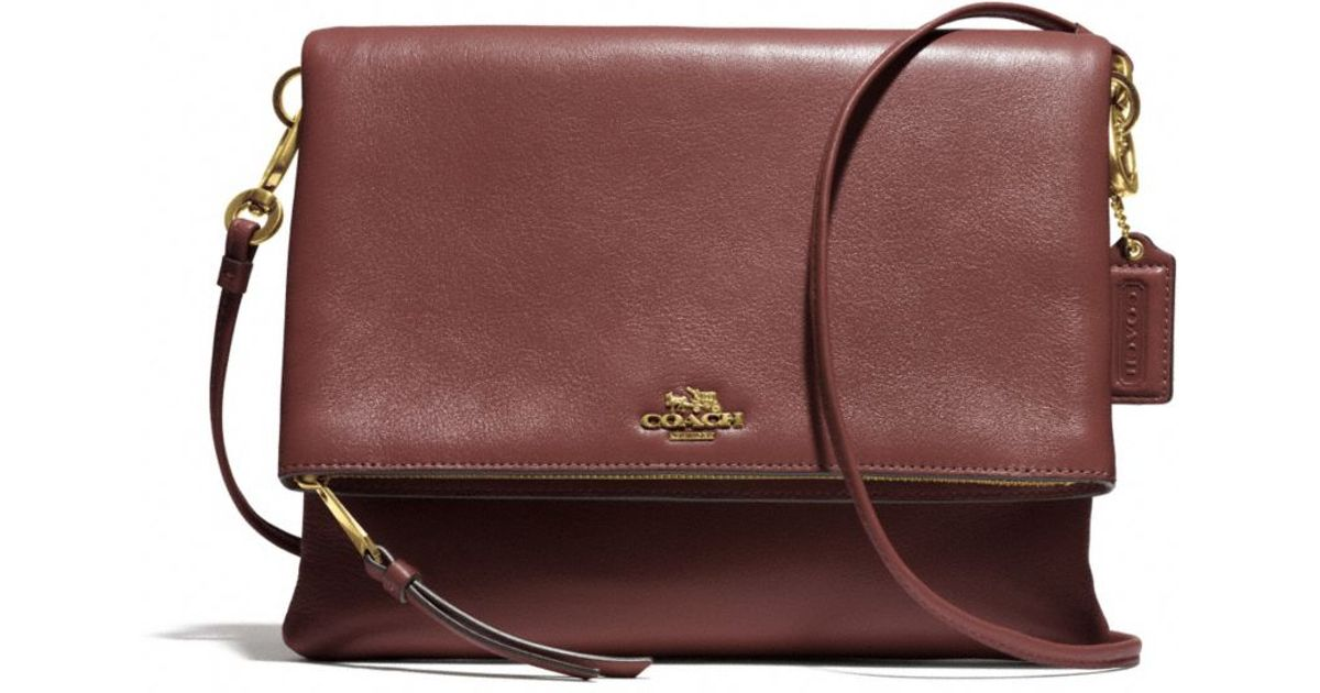 98a778fc838e8 ... official lyst coach madison foldover crossbody in leather in brown  49479 06433
