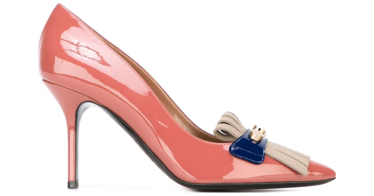 c44c13a787e Lyst - Pollini Fringed Detail Pumps in Pink