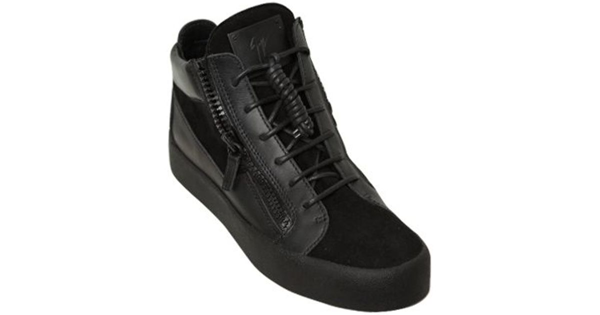 b14b6be027733 Giuseppe Zanotti Zip-up Leather & Suede Mid Top Sneakers in Black for Men -  Lyst