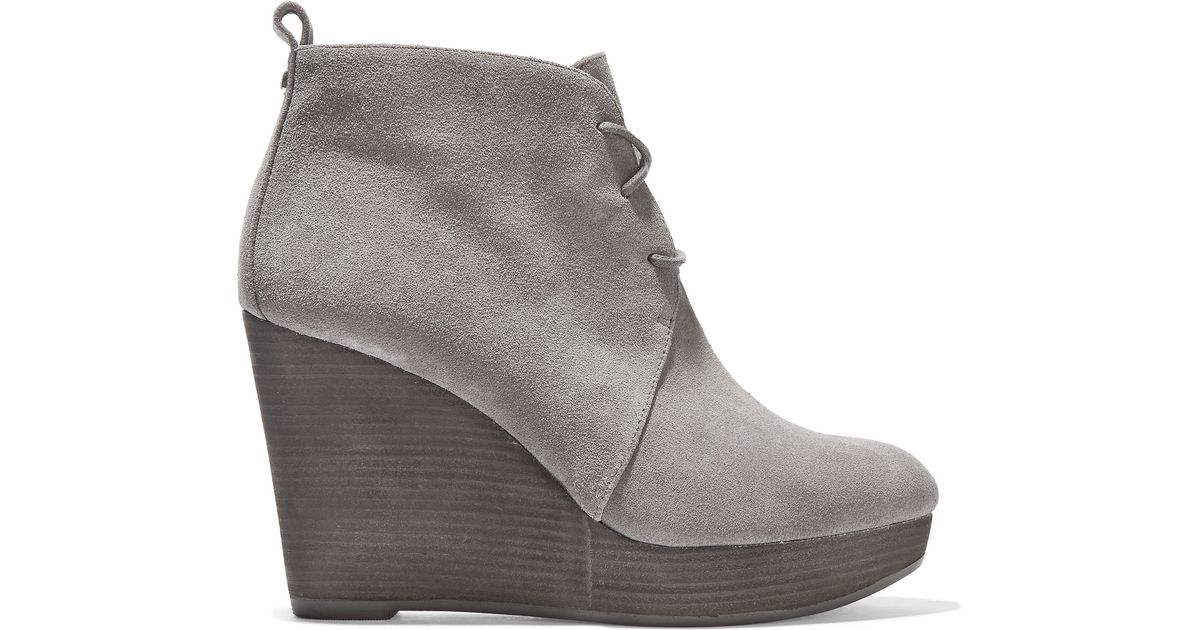 michael michael kors suede wedge ankle boots