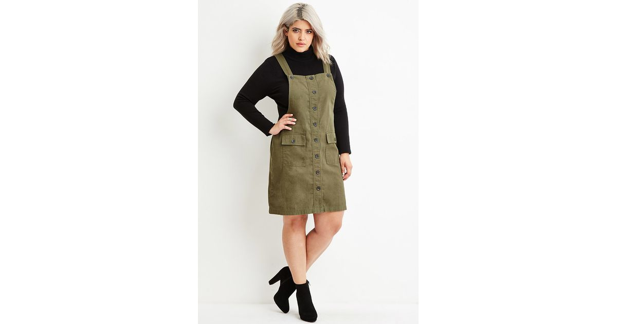 Lyst Forever 21 Plus Size Cargo Overall Dress In Green