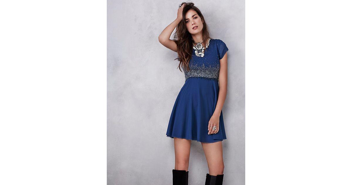d8fc74b9 Free People Glitter Rock Babydoll Dress in Blue - Lyst