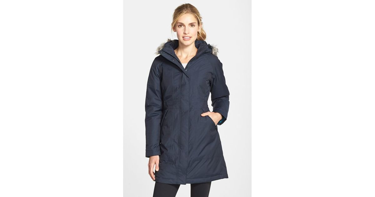 The north face 'arctic' Down Parka With Faux Fur Trim in Blue | Lyst