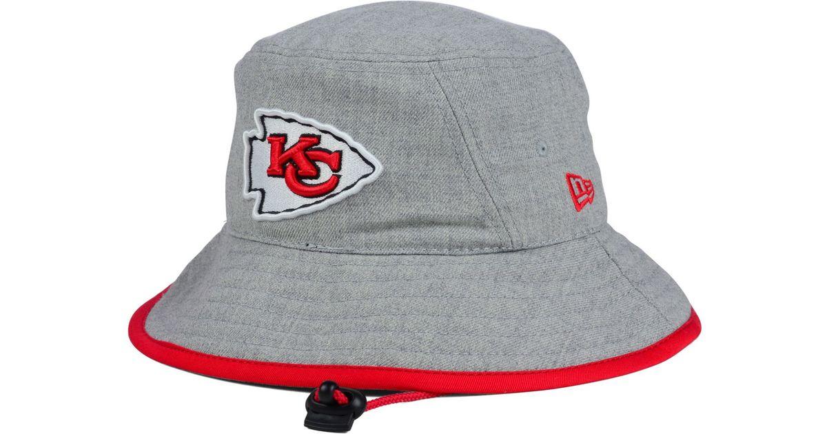 d4c80fb5aea Lyst - KTZ Kansas City Chiefs Nfl Heather Gray Bucket Hat in Gray