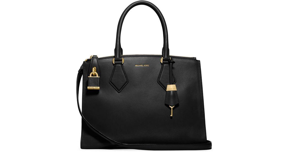 84781018011c Lyst - Michael Kors Casey Large Satchel Bag in Black
