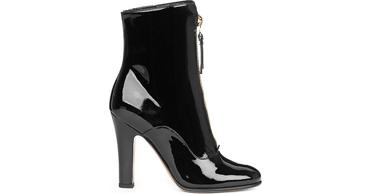 032a7e92191 Valentino Rebelle 100 Patent-leather Ankle Boots in Black - Lyst