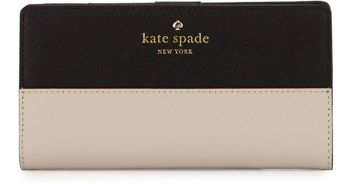 be7a87415f622 Lyst - Kate Spade Cedar Street Stacy Wallet in Black