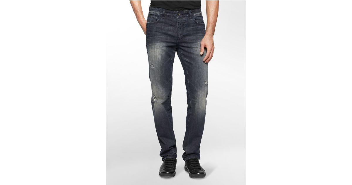 calvin klein jeans slim straight leg worn metal wash jeans. Black Bedroom Furniture Sets. Home Design Ideas