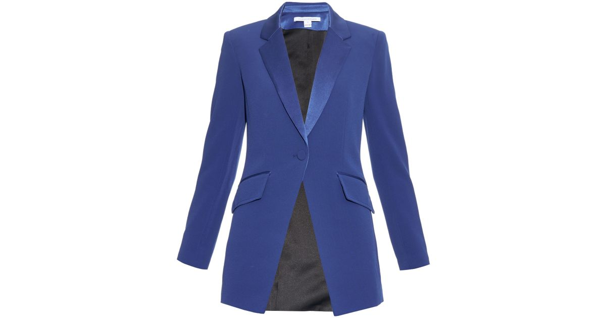 Lyst Diane Von Furstenberg Crepe Smoking Jacket In Blue
