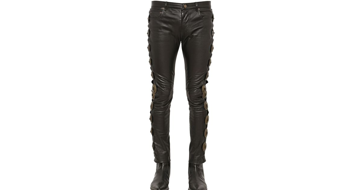 so cheap top fashion discount for sale Saint Laurent Black 15cm Laced-up Embellished Leather Pants for men