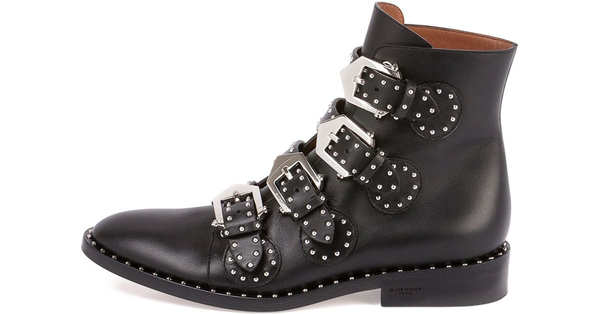Lyst - Givenchy Studded Leather Ankle Boot in Black b7ee3e2e492a