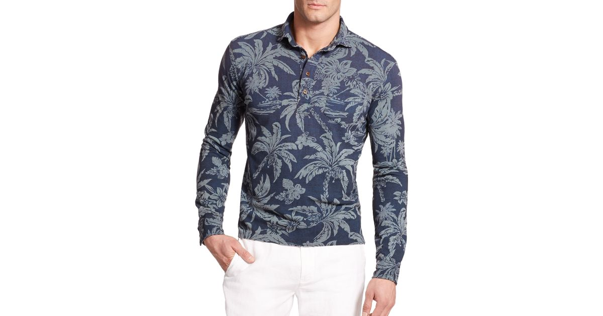 e1508d53 ... low price lyst polo ralph lauren hawaiian print mesh estate long sleeve  polo in blue for