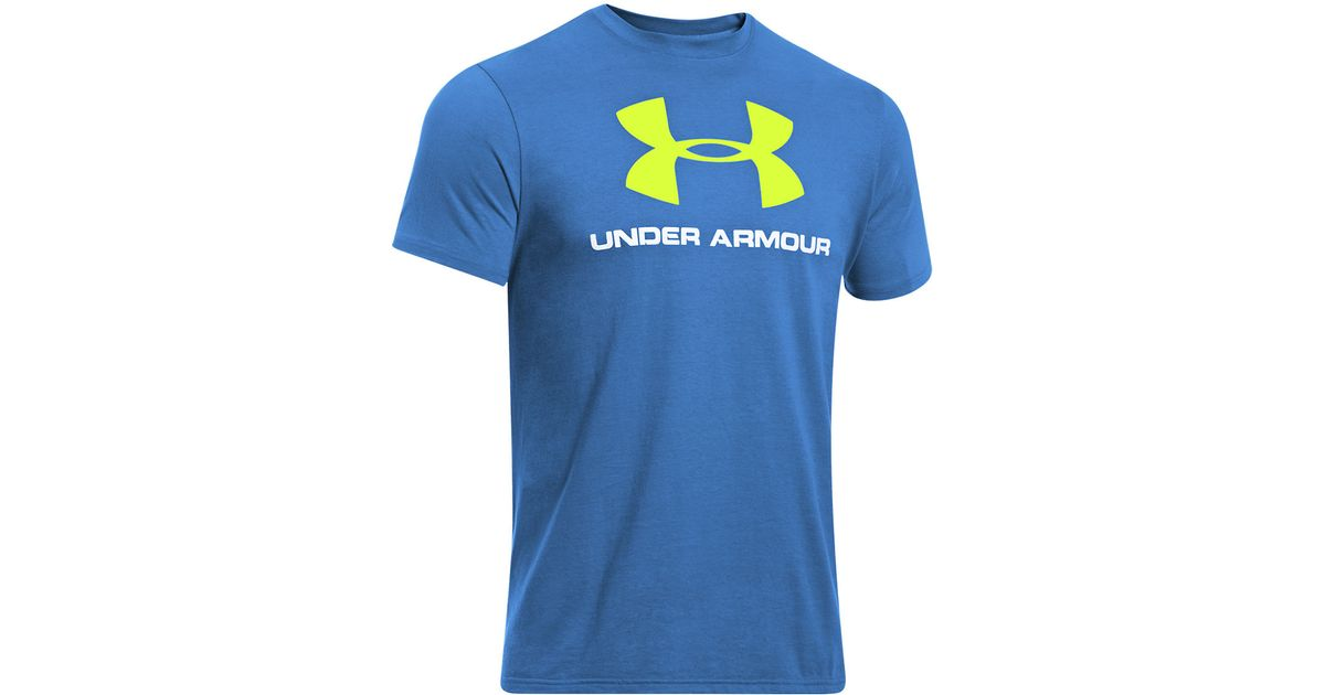 Under armour Logo Tee in Blue for Men | Lyst
