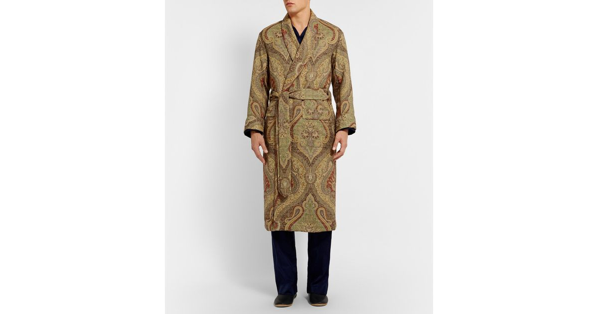 Emma Willis Paisley Woven-wool Dressing Gown in Green for Men - Lyst