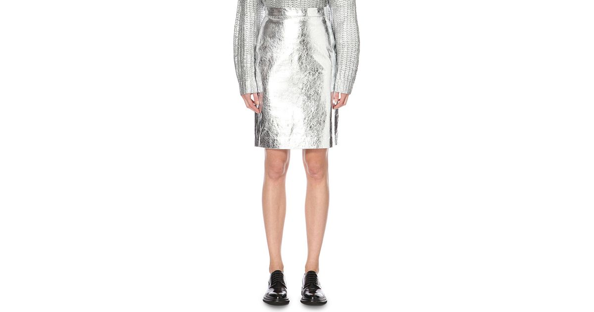 dkny metallic leather pencil skirt in silver lyst