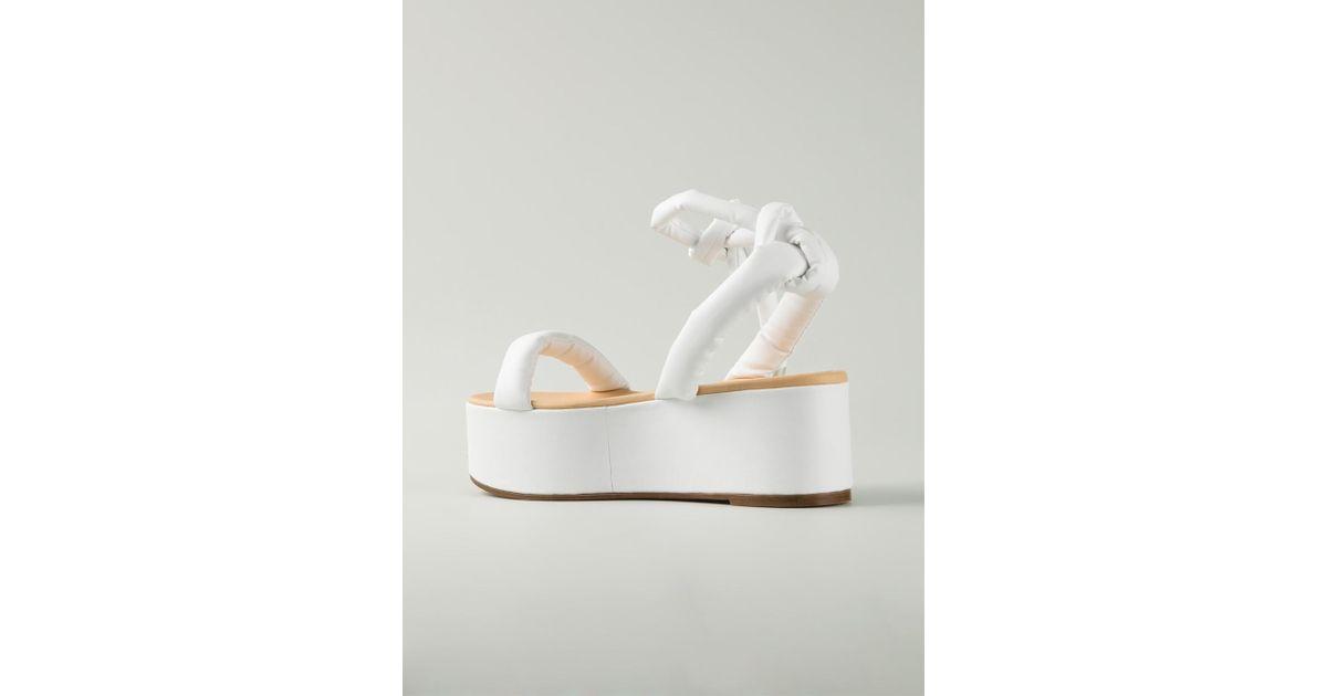 31d56d6fc310 Lyst - MM6 by Maison Martin Margiela Flat Platform Sandals in White