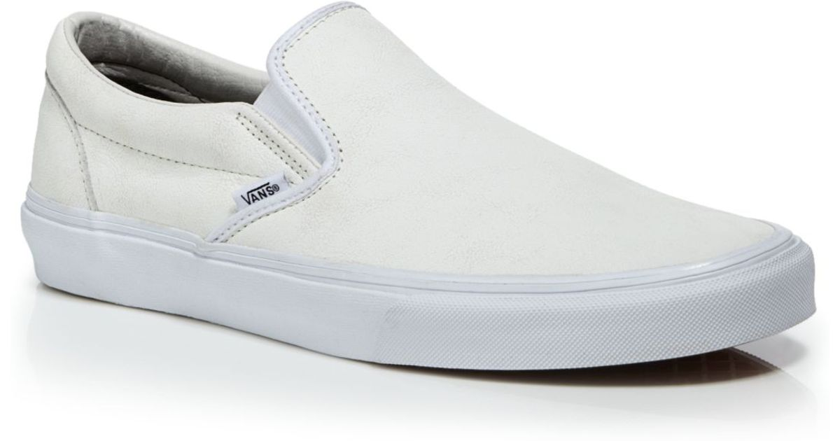 8d2bf392a181 Lyst - Vans Crackle Leather Classic Slip On Sneakers in White for Men