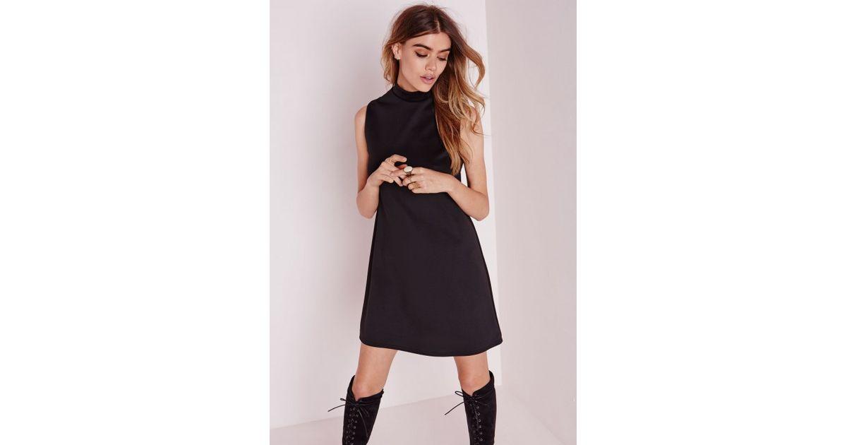 ae37ff4fc6f Lyst - Missguided High Neck Sleeveless Scuba Shift Dress Black in Black