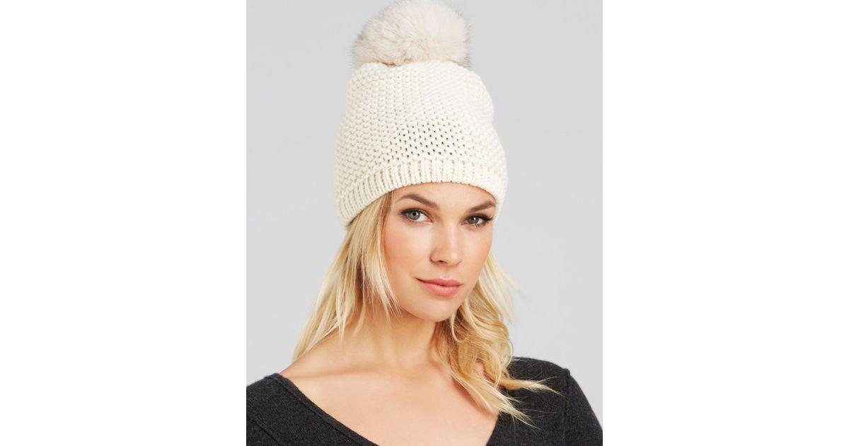 Lyst - Kyi Kyi Fox Fur Pom-pom Slouchy Knit Hat in White bf15290eb13