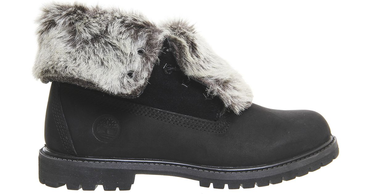 Timberland Fur Fold Down Boots In Black Save 15 Lyst