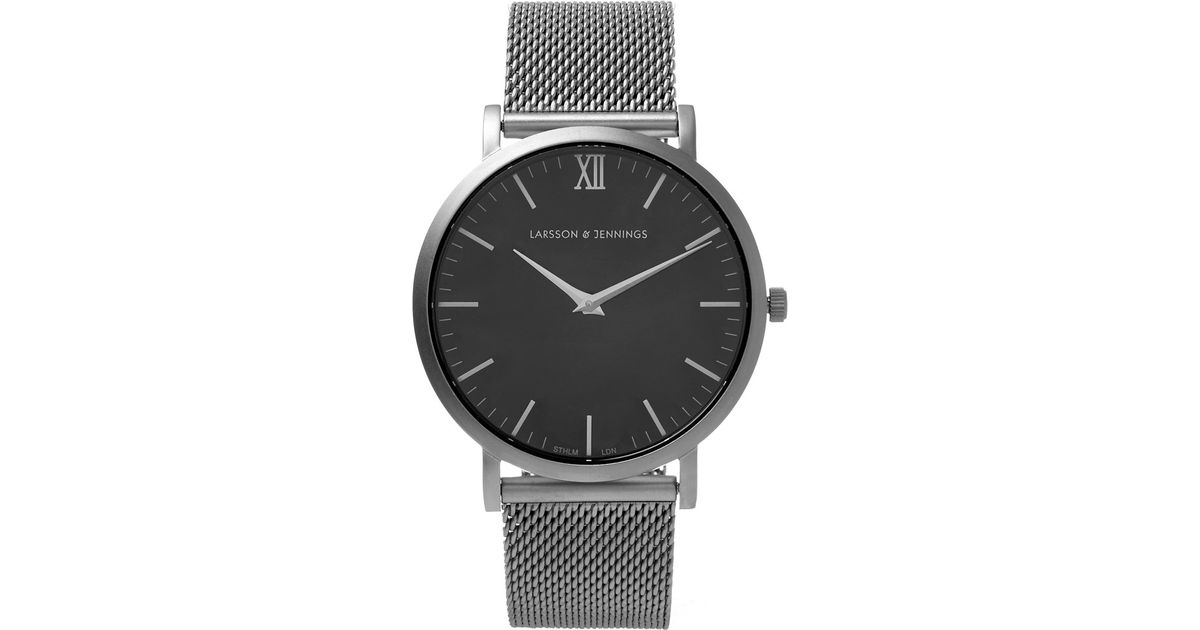 52980fccd6c7f Larsson   Jennings Chain Metal Matte Silver With Black Face Sb Watch in  Metallic - Lyst