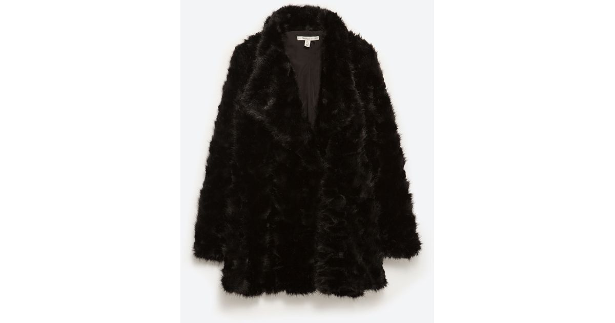 Zara Faux Fur Coat In Black Lyst
