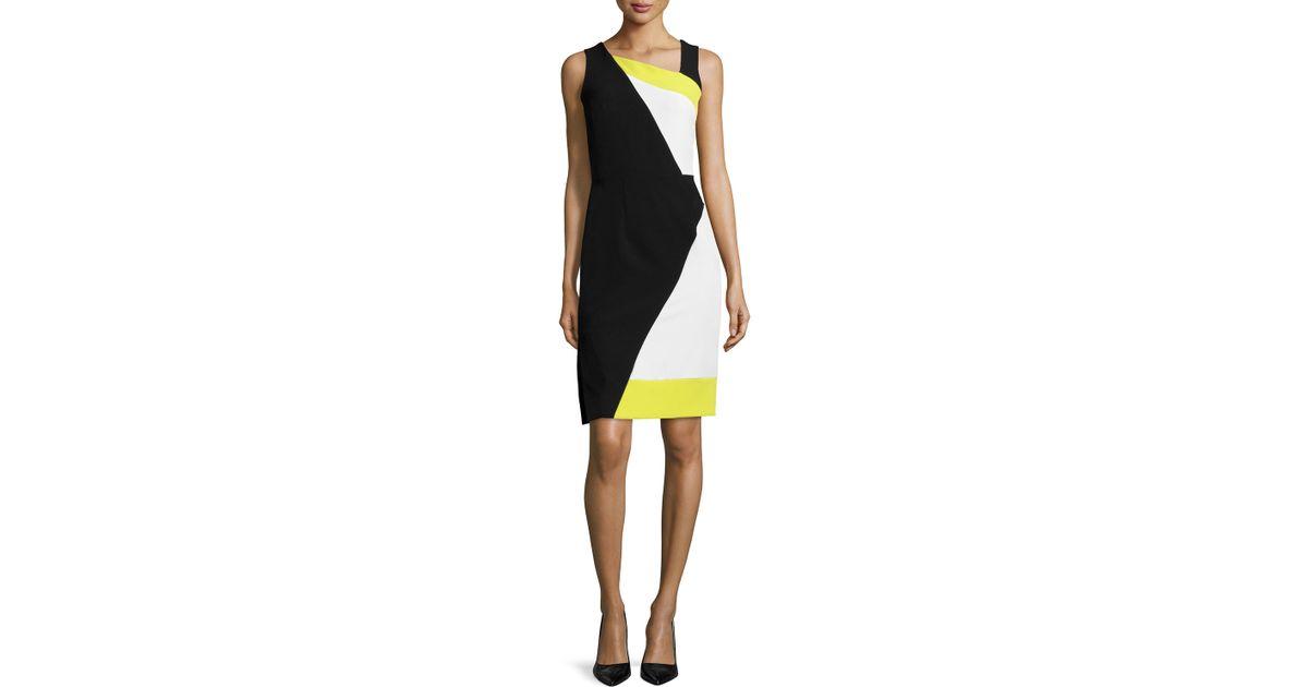 dbb235af Lyst - MILLY Sleeveless Colorblock Sheath Dress