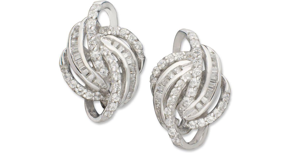 Lyst Wred In Love Knot Diamond Earrings 14k White Gold 1 2 Ct T W Metallic