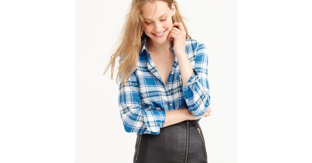 Lyst j crew lightweight perfect shirt in seaport plaid for Lightweight plaid shirt womens