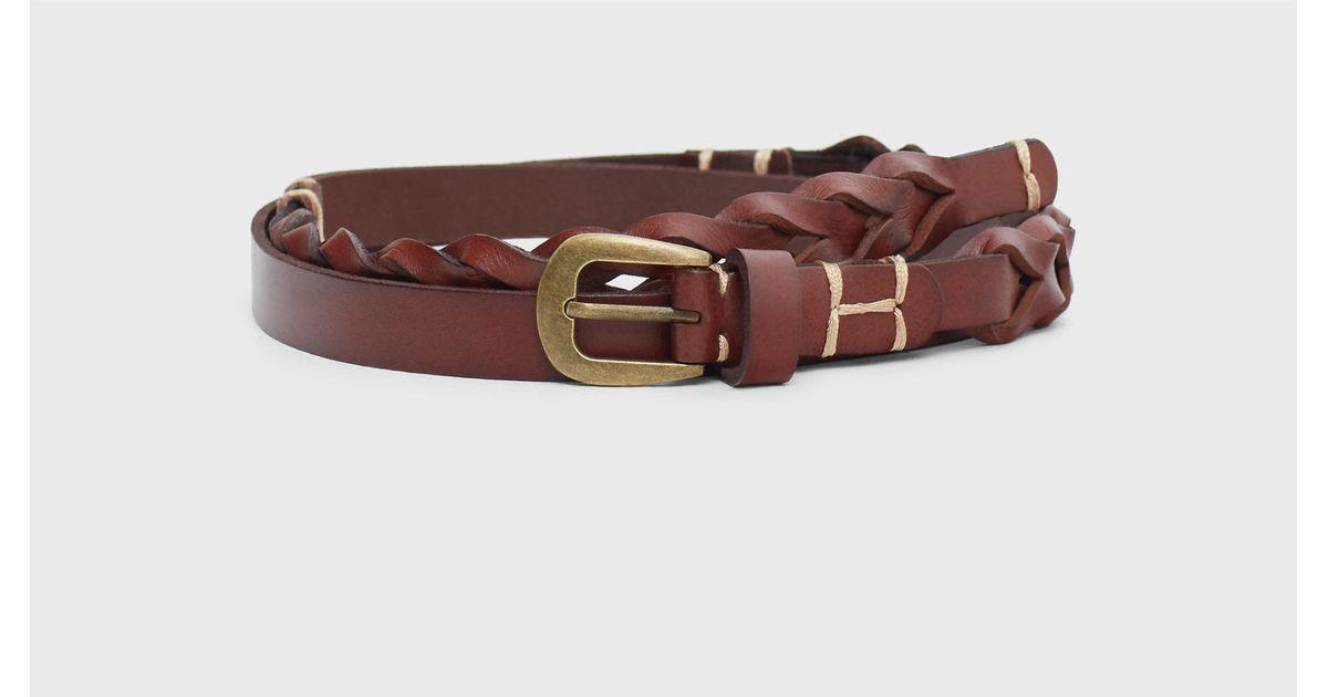 violeta by mango braided leather belt in brown lyst