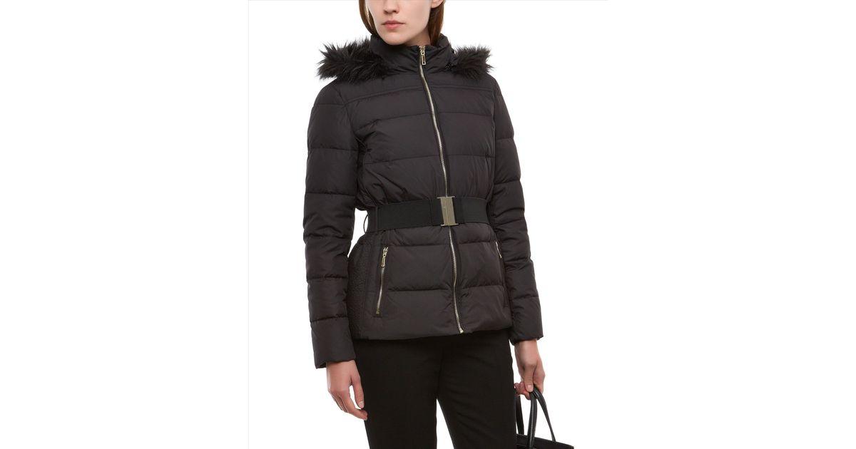 Jaeger fur trim short puffer coat black