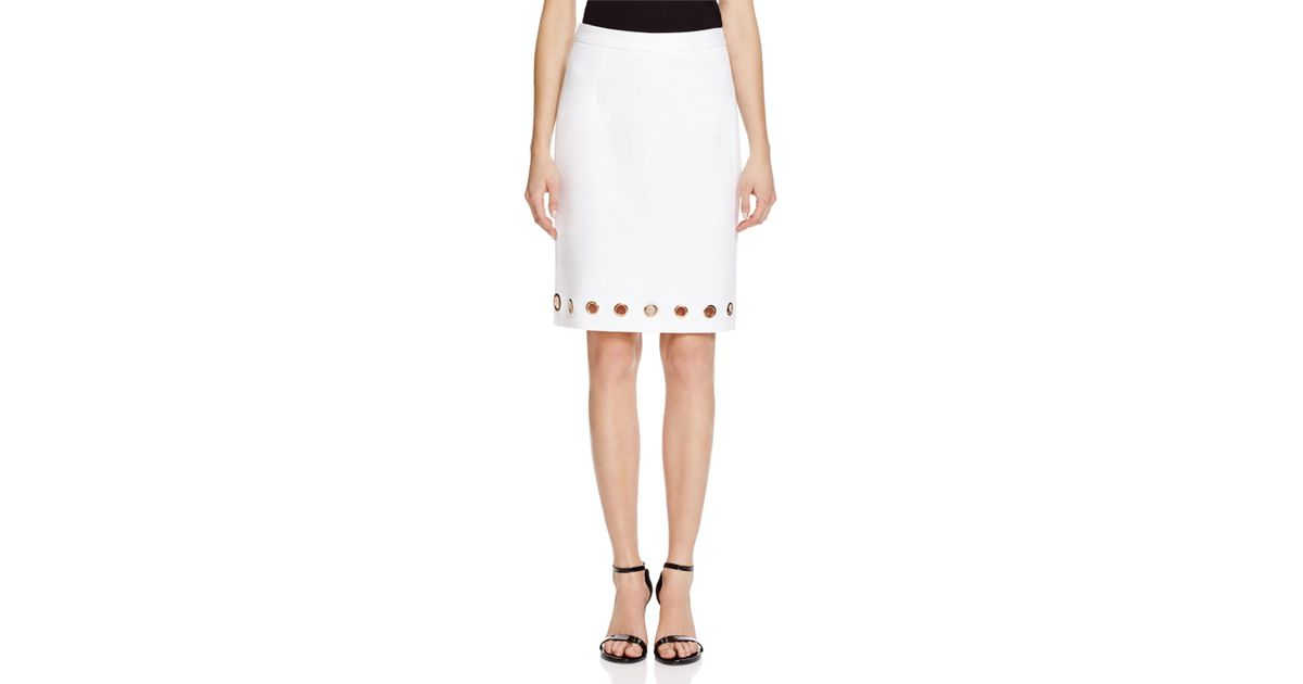 c38b2466eb Lyst - Catherine Malandrino Grommet Pencil Skirt - Compare At $68 in White