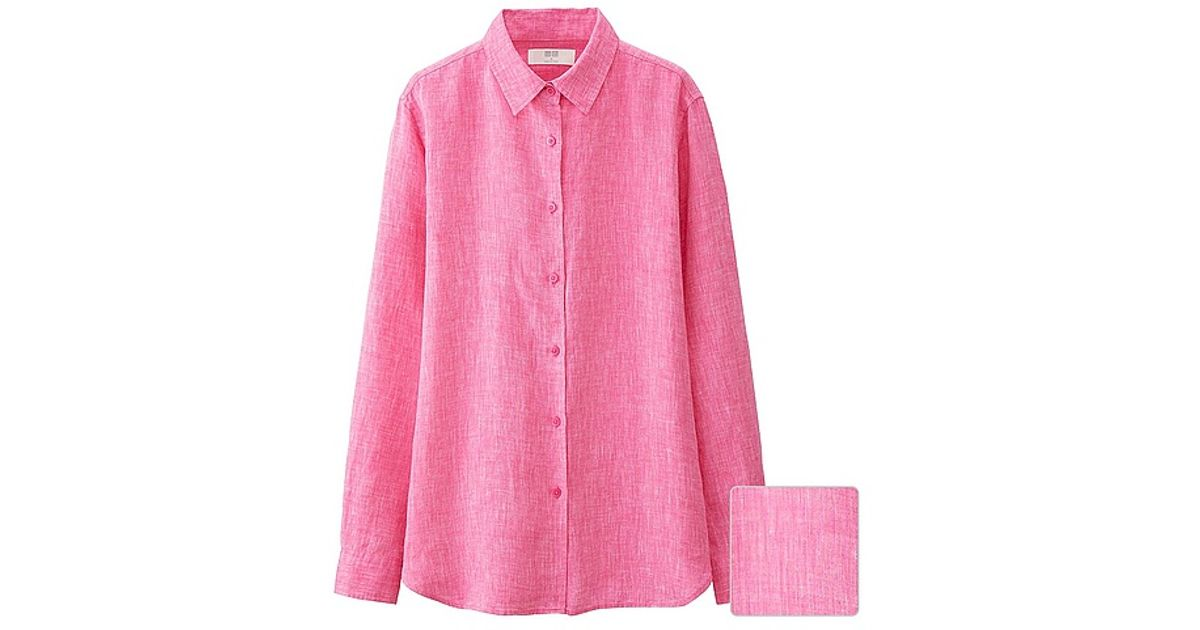 Uniqlo Premium Linen Long Sleeve Shirt In Pink Lyst