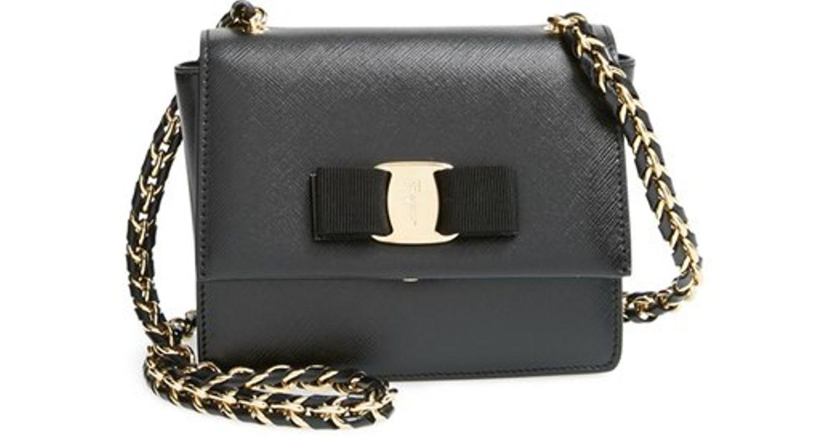 Lyst - Ferragamo  ginny - Mini  Crossbody Bag in Black d80d51eb14d37