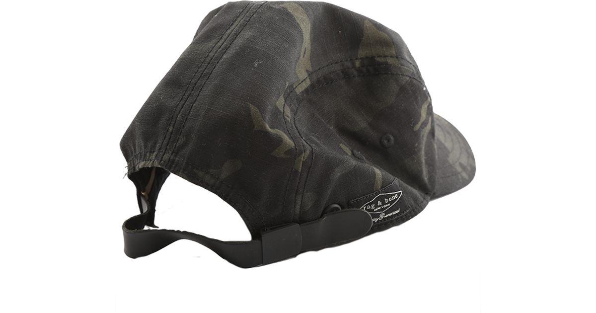 ad8d7ea0d058a ... shop lyst rag bone 5 panel camo hat in natural for men 45d2e c1955