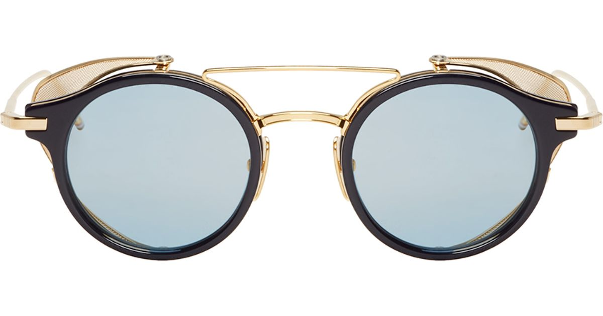 55be3b96483 Lyst - Thom Browne Gold And Navy Visor Sunglasses in Metallic for Men