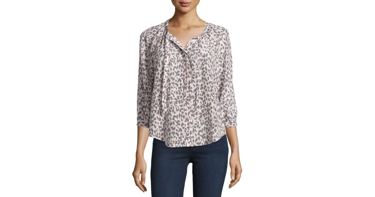 767019347432e Lyst - Joie Madera Leopard-print Tie-neck Silk Blouse