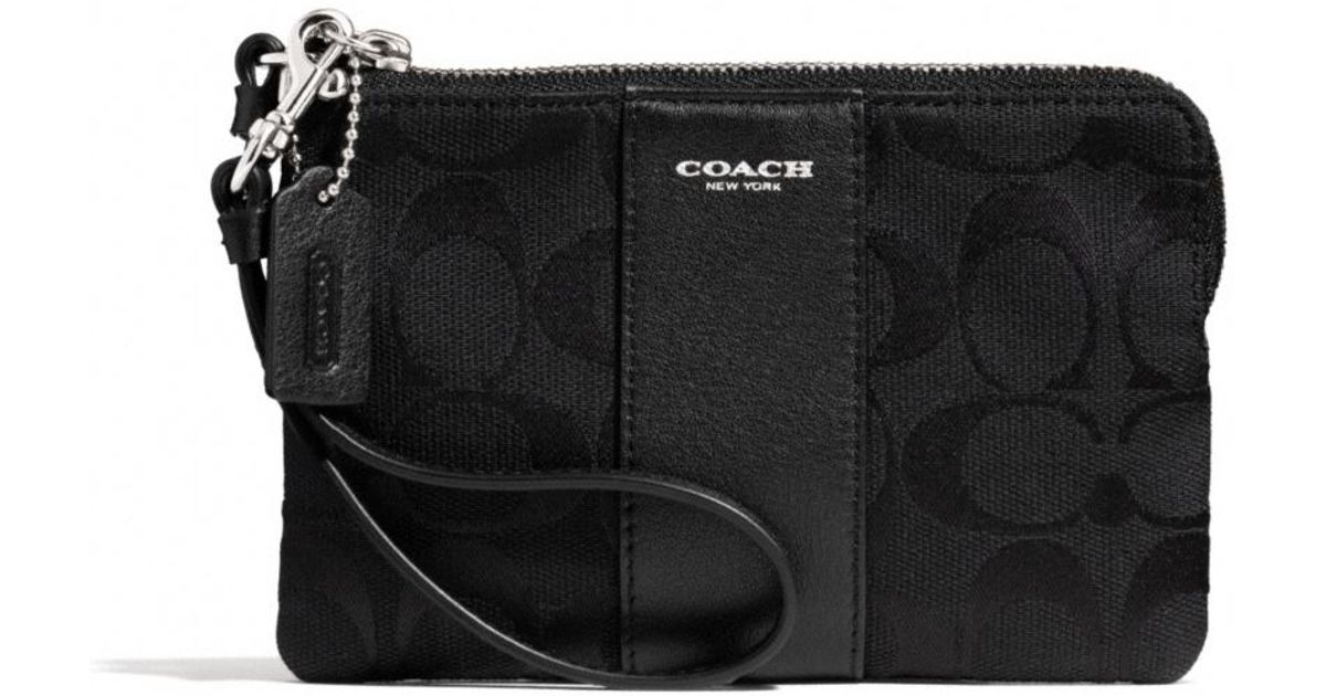 46368fc10d467 ... coupon for lyst coach boxed legacy lzip small wristlet in signature  fabric in black 24d2a d44f1