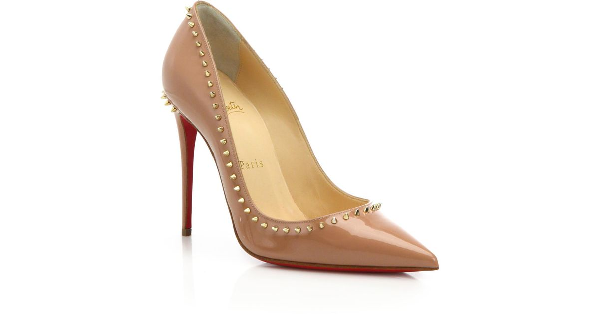 d43ac664d896 Lyst - Christian Louboutin Anjalina Spiked Patent Leather Pumps in Natural