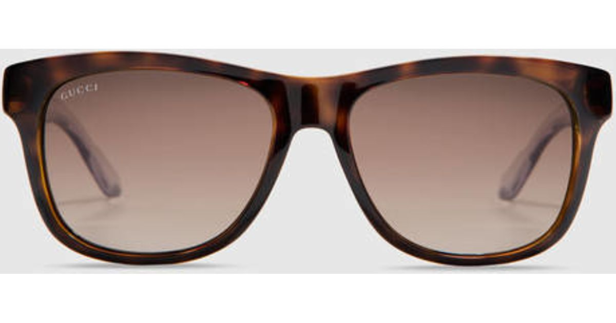 6123390556 Gucci Bio-based Rectangle Web Sunglasses in Brown for Men - Lyst