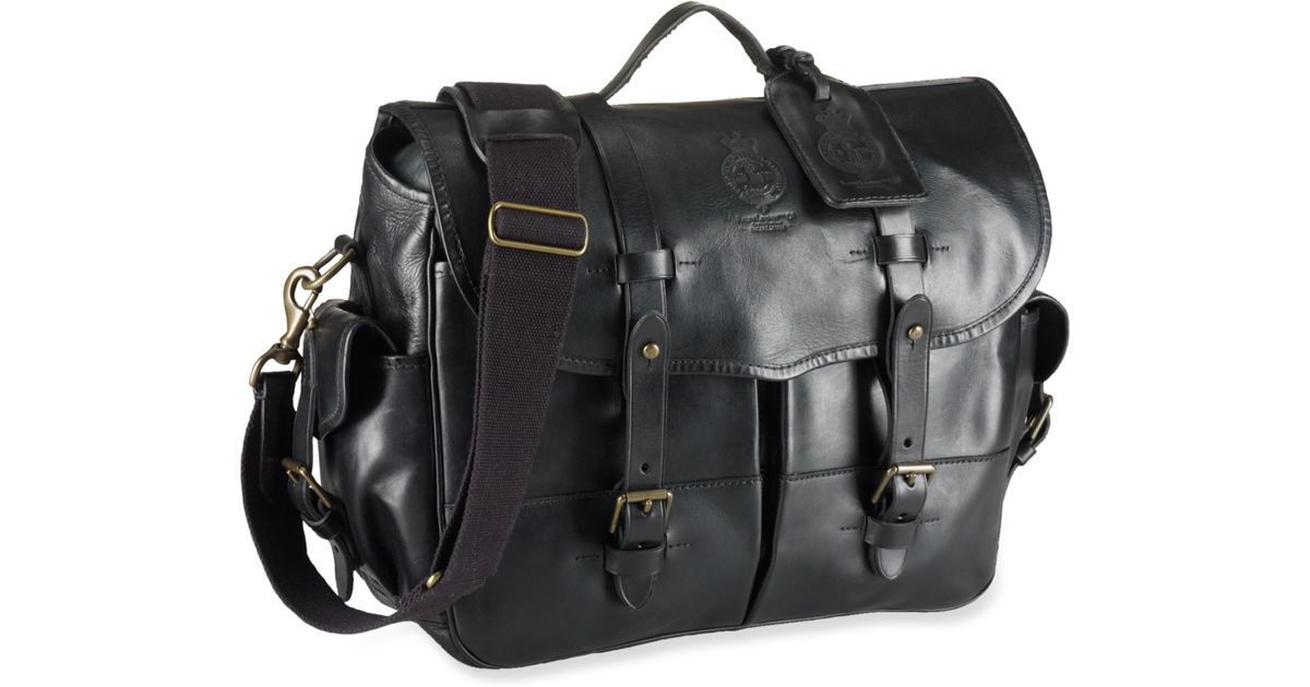 Lyst - Polo Ralph Lauren Leather Messenger Bag in Black for Men 67d315e9b0a47