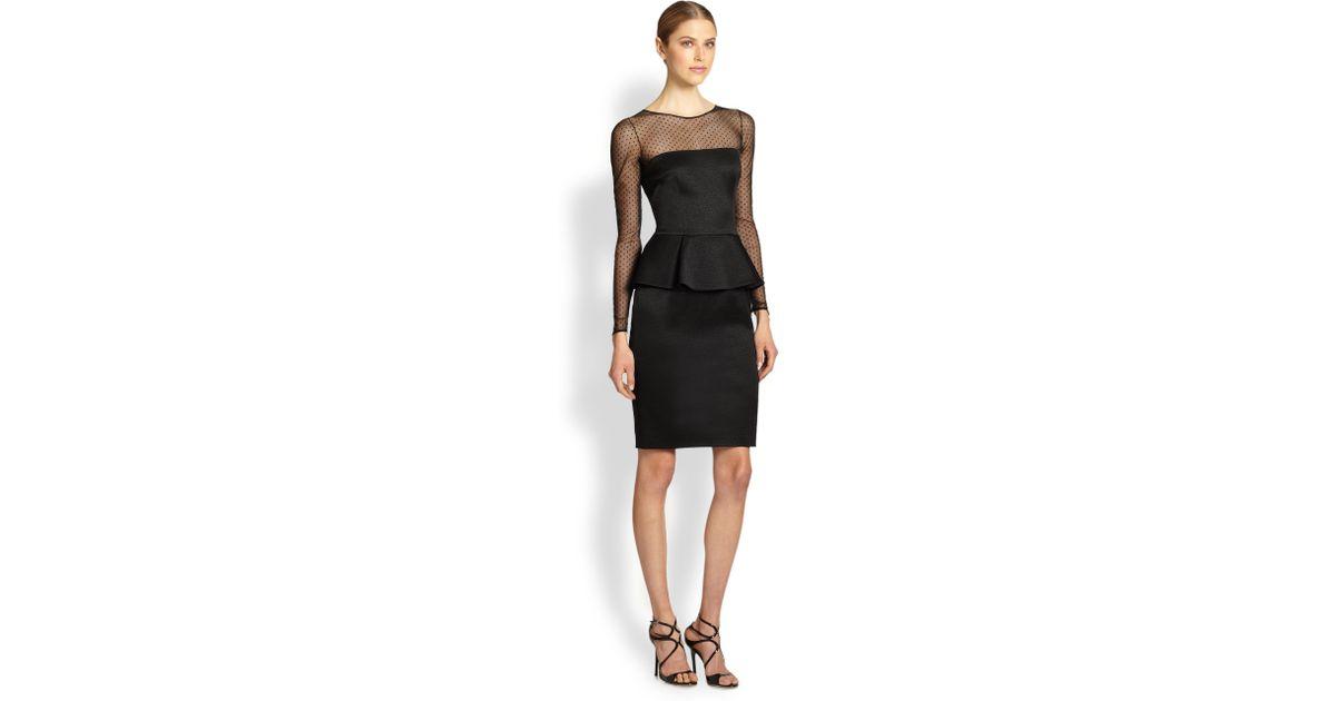 Lyst David Meister Long Sleeve Illusion Peplum Dress In Black
