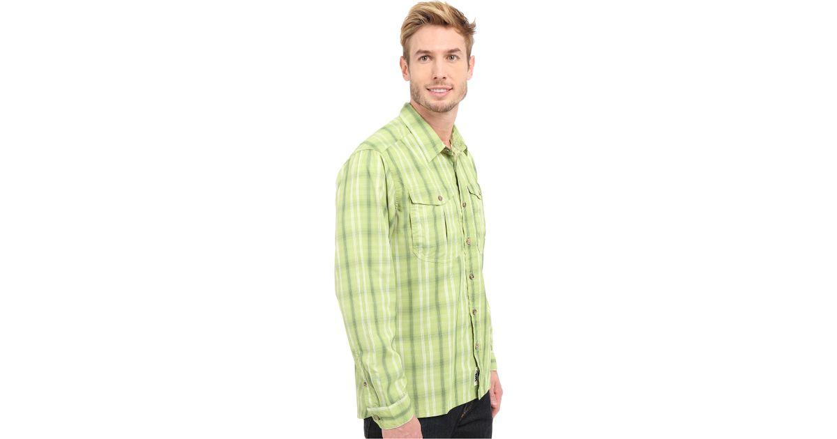 Mountain khakis equatorial l s shirt in green for men lyst for Apple green dress shirt