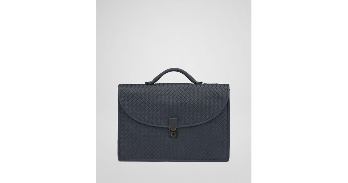 454a11d4f131 Lyst - Bottega Veneta Tourmaline Intrecciato Light Calf Briefcase in Blue  for Men