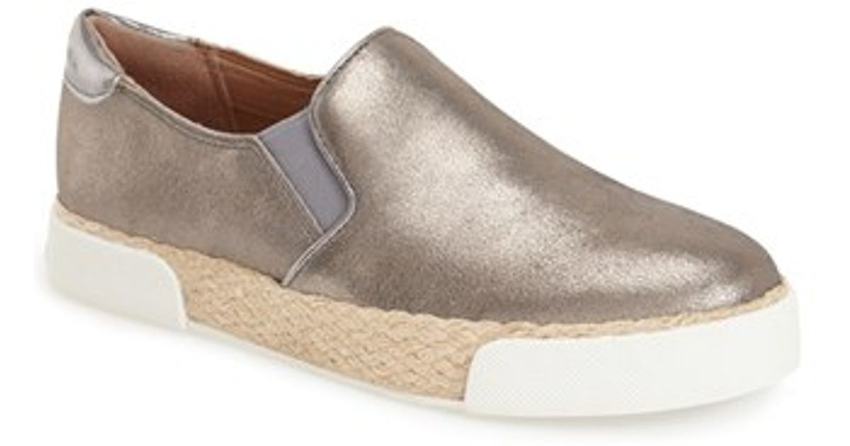 d11892cd1c2845 Lyst - Sam Edelman Banks Perforated-Leather Slip-On Sneakers in Metallic