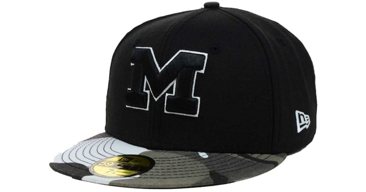 brand new fb1cd dbfd0 KTZ Michigan Wolverines Urban Camo 59fifty Cap in Black for Men - Lyst