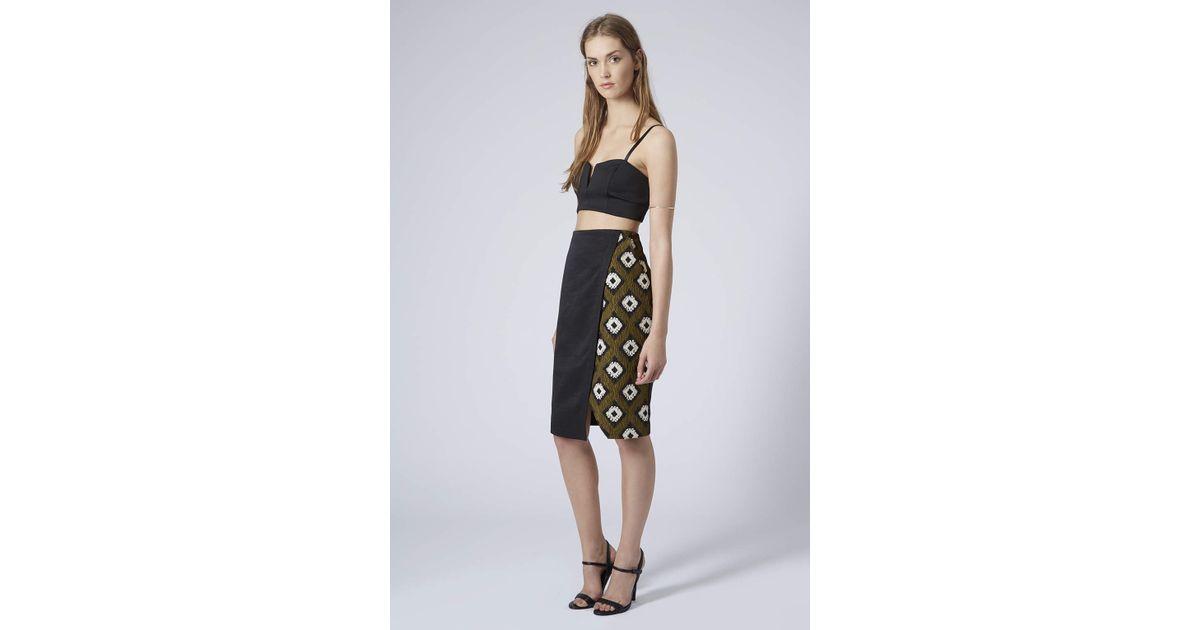Topshop Hybrid Print Wrap Pencil Skirt in Green | Lyst