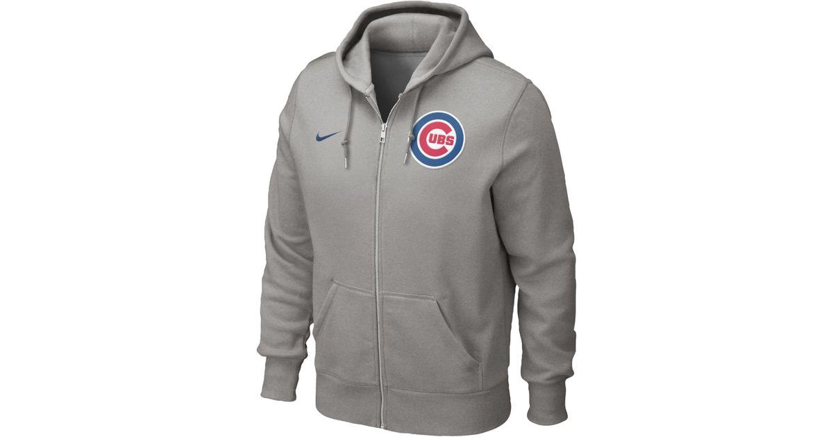 online store a08f9 2701b Nike Men S Chicago Cubs Full-Zip Hoodie Sweatshirt in Gray for Men - Lyst