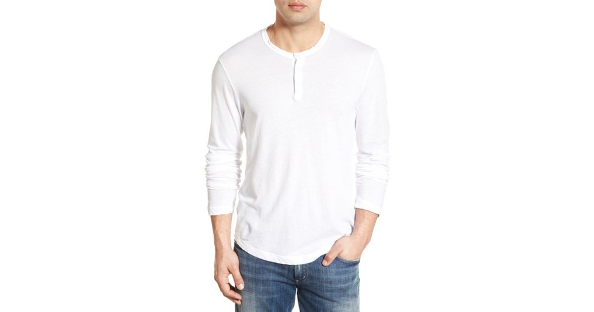 James Perse 39 Clear Jersey 39 Long Sleeve Henley In White For